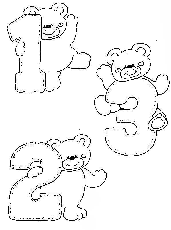 Desenhos Numeros Ursinho Decoracao Sala De Aula Em Eva  1
