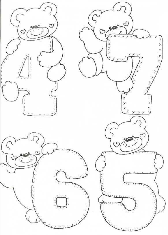 desenhos numeros ursinho decoracao sala de aula em eva (2)