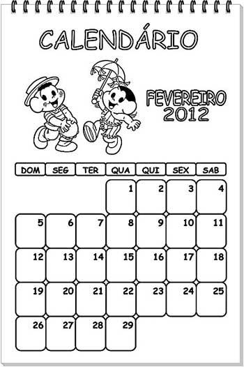 Calendário 2014 para pintar (tema: Turma da Mônica)