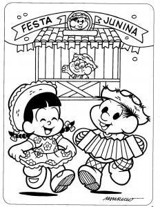 desenhos colorir festa junina turma da monica escola mural (2)