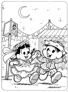 desenhos colorir festa junina turma da monica escola mural (3)