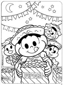 desenhos colorir festa junina turma da monica escola mural (5)