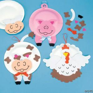 reciclagem arte escola criancas pratos descartaveis animais vaquinha galinha porquinho (7)