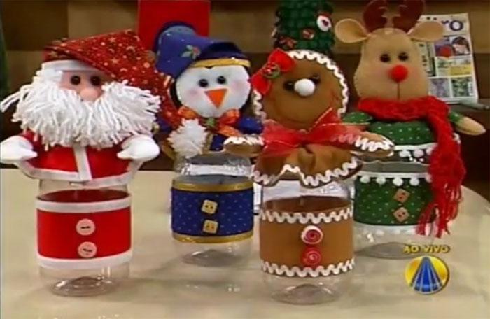 como fazer potinhos vidro decorado papai noel boneco de neve natal