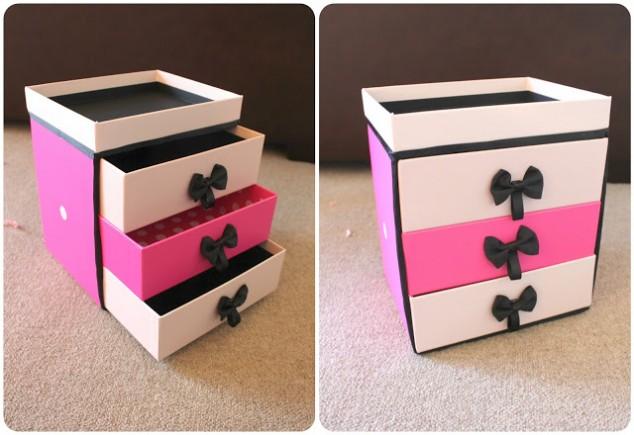 reciclagem caixa de sapato porta trecos gaveteiro porta joias (4)