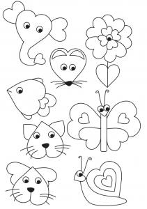 animais bichinhos flores feitos molde coracao (2)