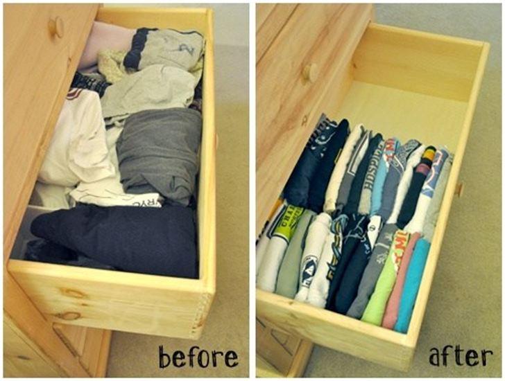 11 dicas truques organizar casa quarto dobrar camisetas gavetas  (11)