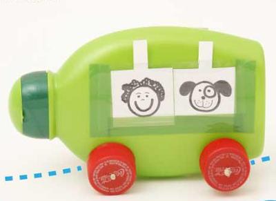 brinquedo reciclado embalagem amaciente carro
