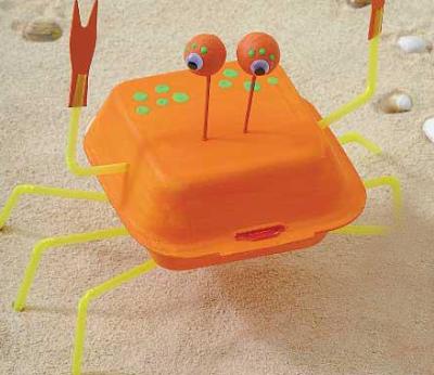 brinquedo reciclado embalagem isopor caranguejo