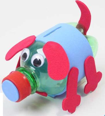 brinquedo reciclado garrafa pet cofre do porquinho