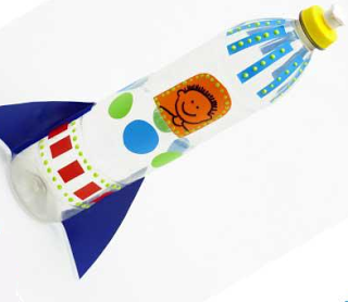 brinquedo reciclado garrafa pet foguete