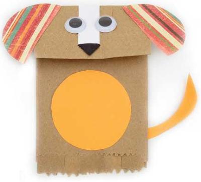 brinquedo reciclado saquinho papel cachorrinho