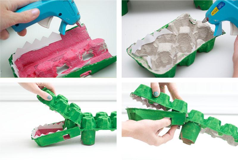 como fazer brinquedo reciclado jacare caixa de ovos crincas sala de aula escola projeto reciclagem (1)