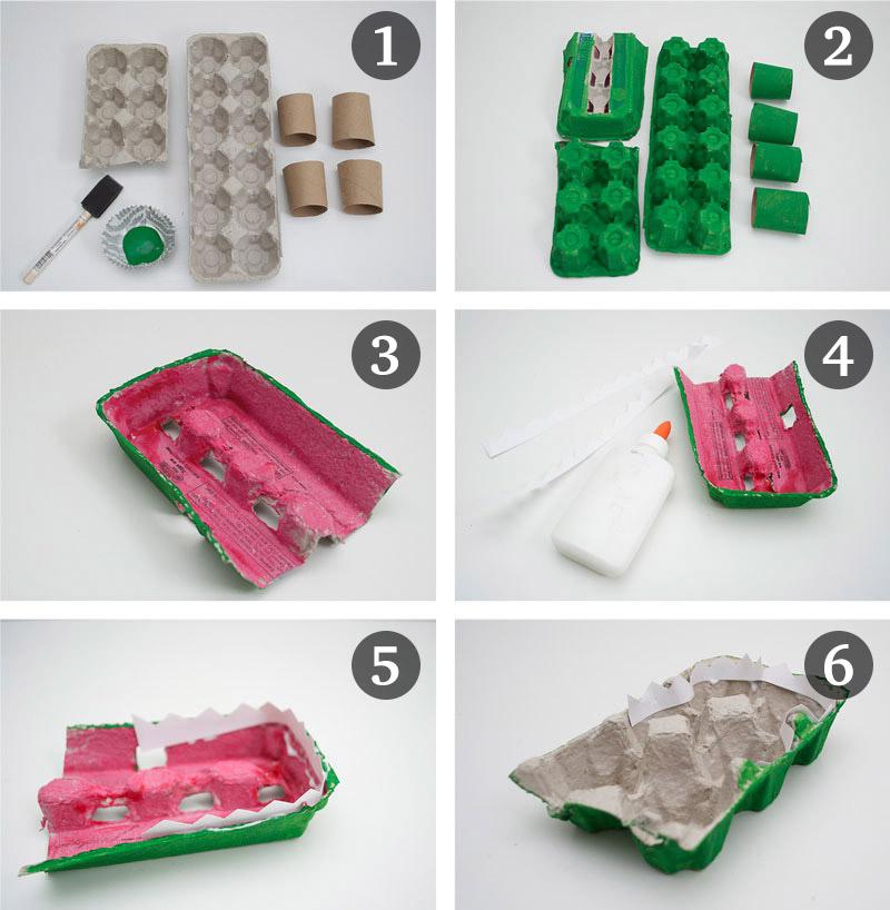 como fazer brinquedo reciclado jacare caixa de ovos crincas sala de aula escola projeto reciclagem (5)