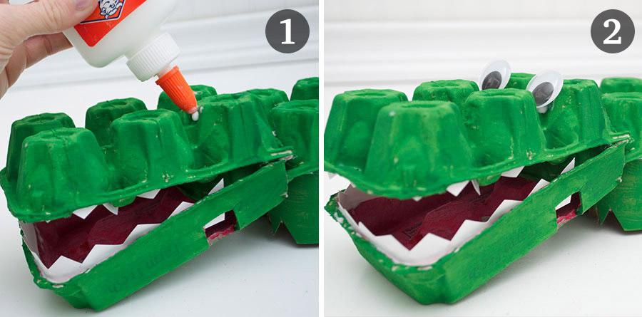 como fazer brinquedo reciclado jacare caixa de ovos crincas sala de aula escola projeto reciclagem (6)