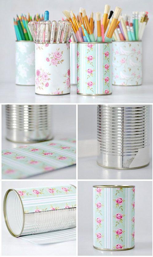 como raproveitar latinhas reciclagem porta lapis lembrancinhas porta trecos vasinhos de flores 1