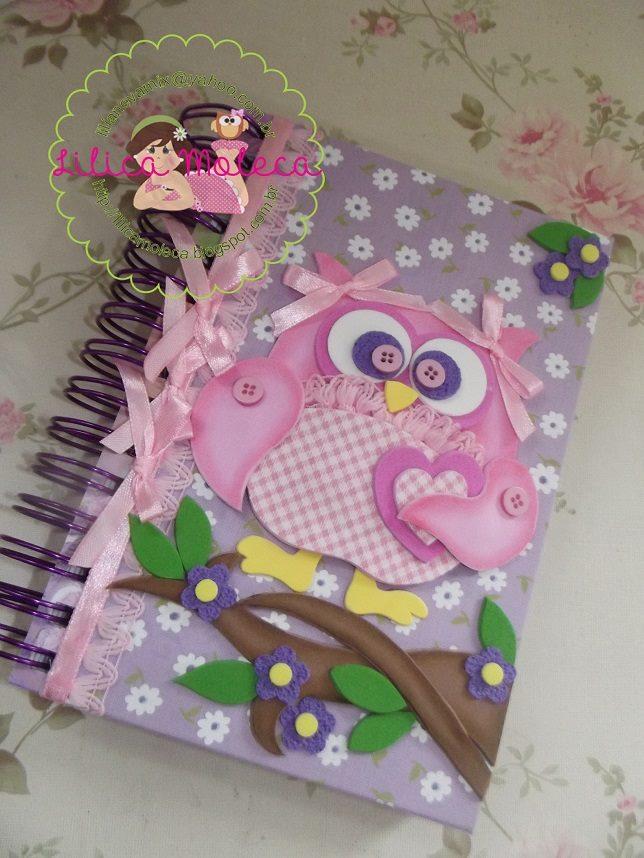 capa caderno corujinha eva molde menina agenda escola (1)