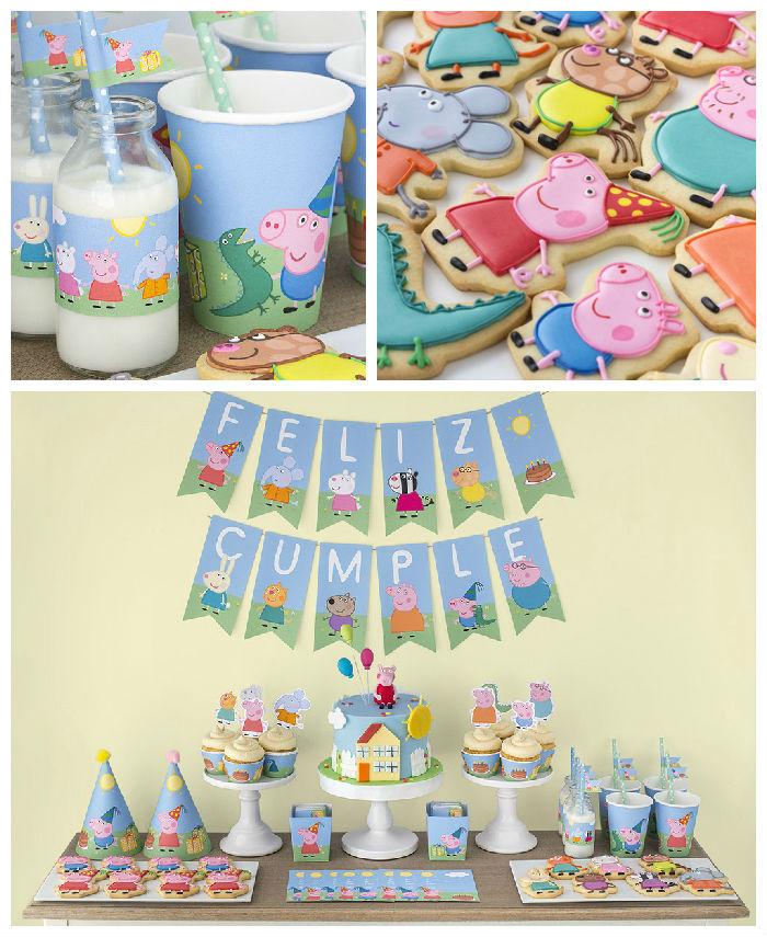 ideia festa aniversario infantil peppa pic criancas mesa de doces bolos  (1)