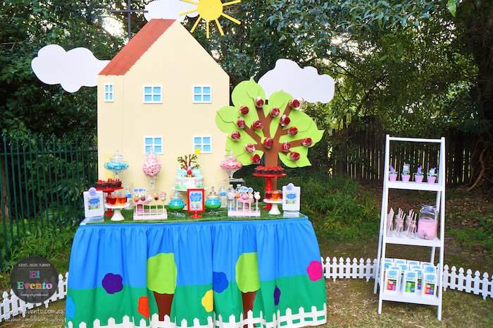 ideia festa aniversario infantil peppa pic criancas mesa de doces bolos  (3)
