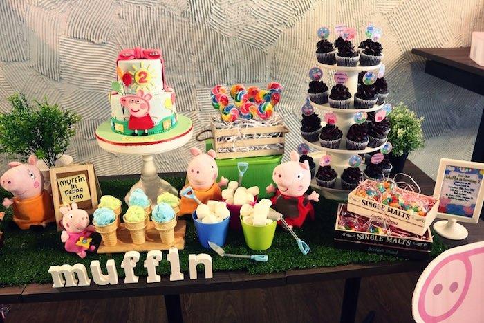 ideia festa aniversario infantil peppa pic criancas mesa de doces bolos  (6)