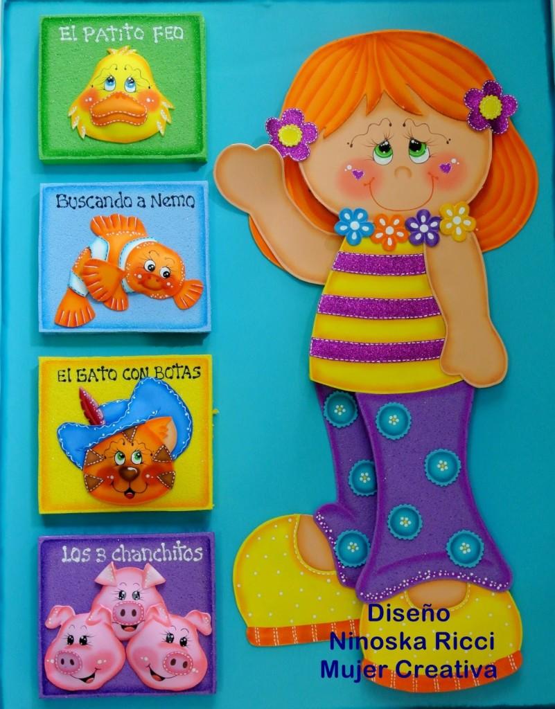 molde painel menina animais EVA decoracao sala de aula escola artesanato 7