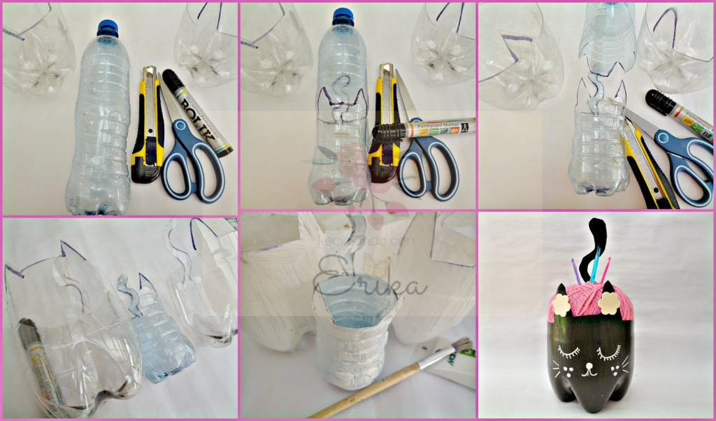 como fazer porta trecos garrafa pet gatinho reciclagem decoracao casa 3